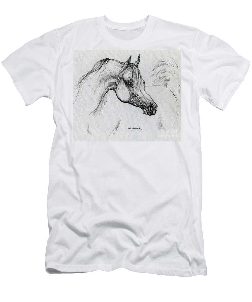 Horse Men's T-Shirt (Athletic Fit) featuring the drawing Arabian Horse Drawing 28 by Angel Ciesniarska