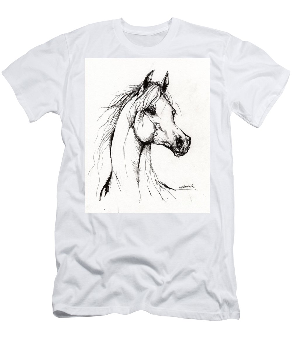 Horse Men's T-Shirt (Athletic Fit) featuring the drawing Arabian Horse Drawing 38 by Angel Ciesniarska
