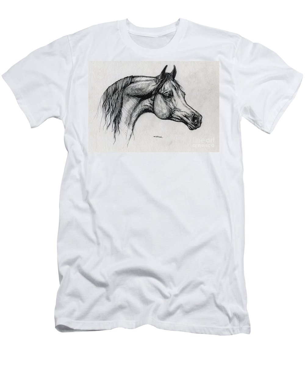Horse Men's T-Shirt (Athletic Fit) featuring the drawing Arabian Horse Drawing 40 by Angel Ciesniarska