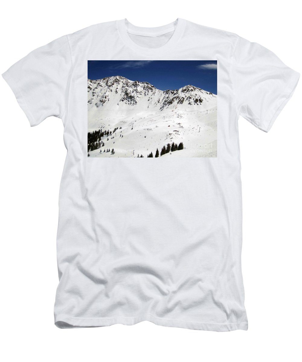A-basin Men's T-Shirt (Athletic Fit) featuring the photograph Arapahoe Basin Ski Resort - Colorado     by Fiona Kennard