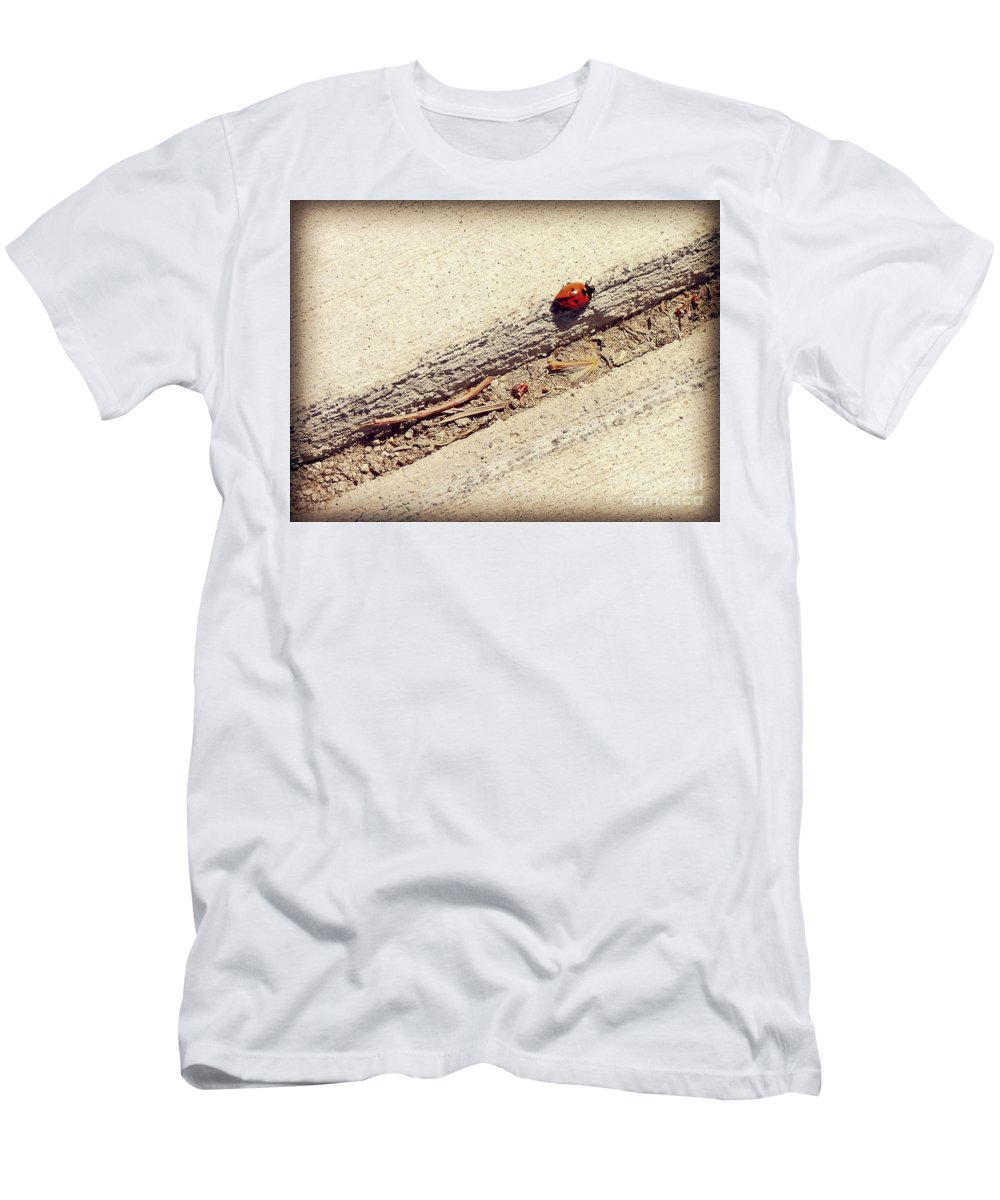 Lady Bug Men's T-Shirt (Athletic Fit) featuring the photograph Arduous Journey by Meghan at FireBonnet Art