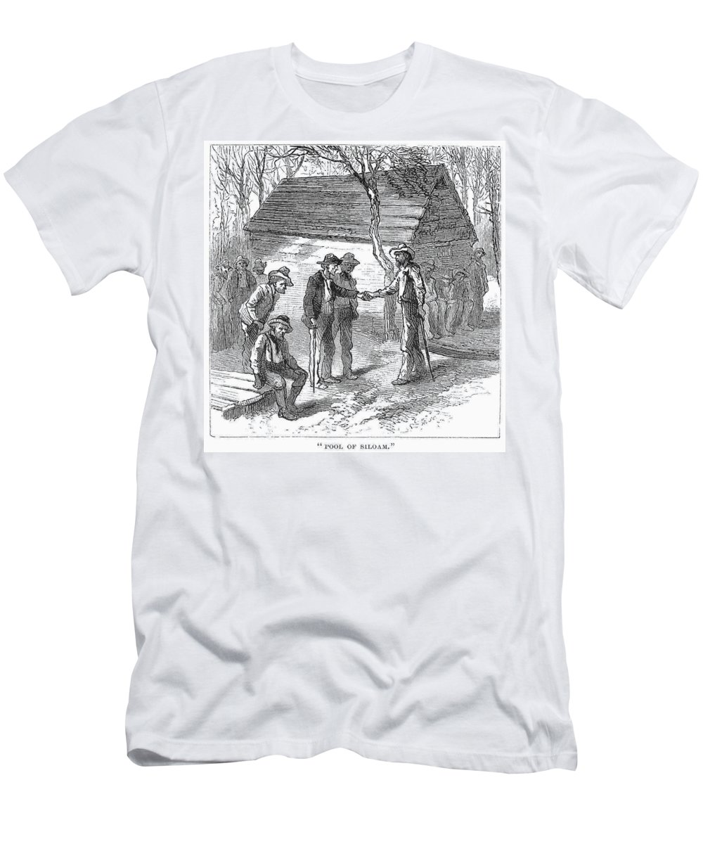 1878 Men's T-Shirt (Athletic Fit) featuring the painting Arkansas Hot Springs, 1878 by Granger