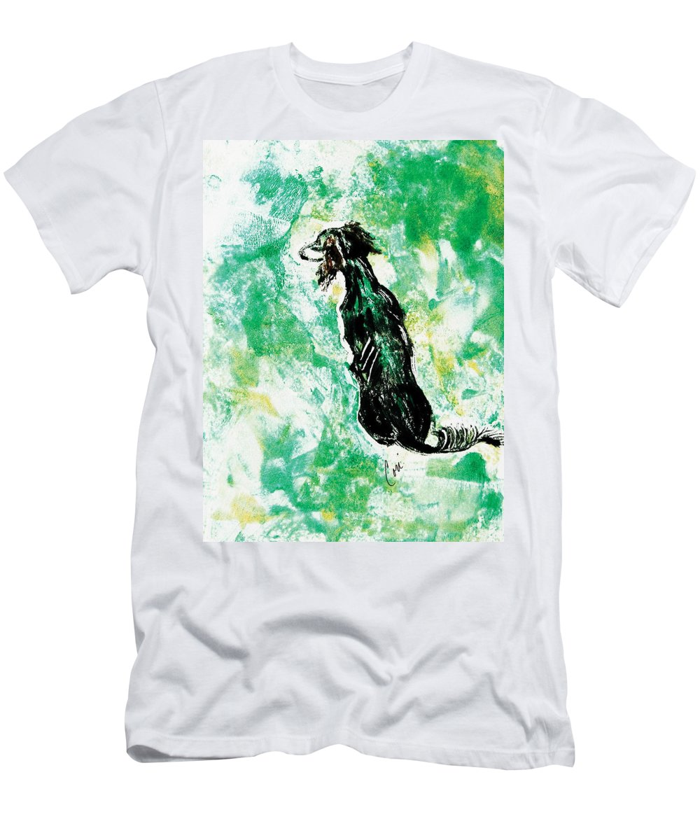 Saluki Men's T-Shirt (Athletic Fit) featuring the mixed media Around The Bend by Cori Solomon