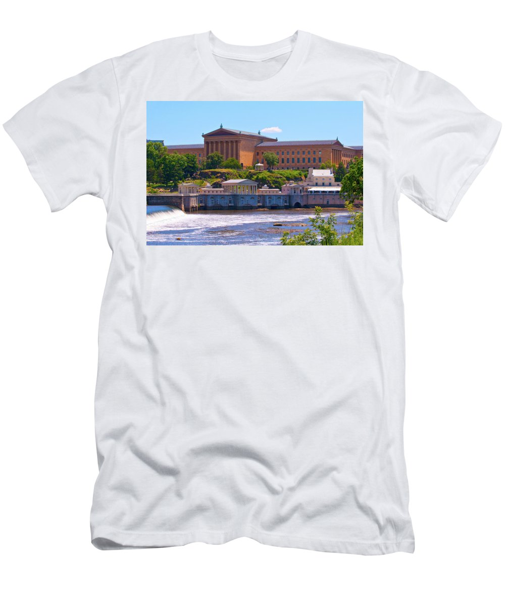 Architecture Men's T-Shirt (Athletic Fit) featuring the photograph Art Museum And Fairmount Waterworks - Hdr by Lou Ford