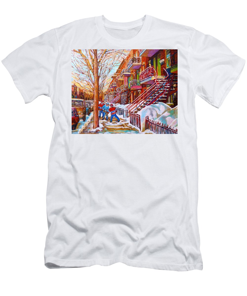 Montreal T-Shirt featuring the painting Art Of Montreal Staircases In Winter Street Hockey Game City Streetscenes By Carole Spandau by Carole Spandau