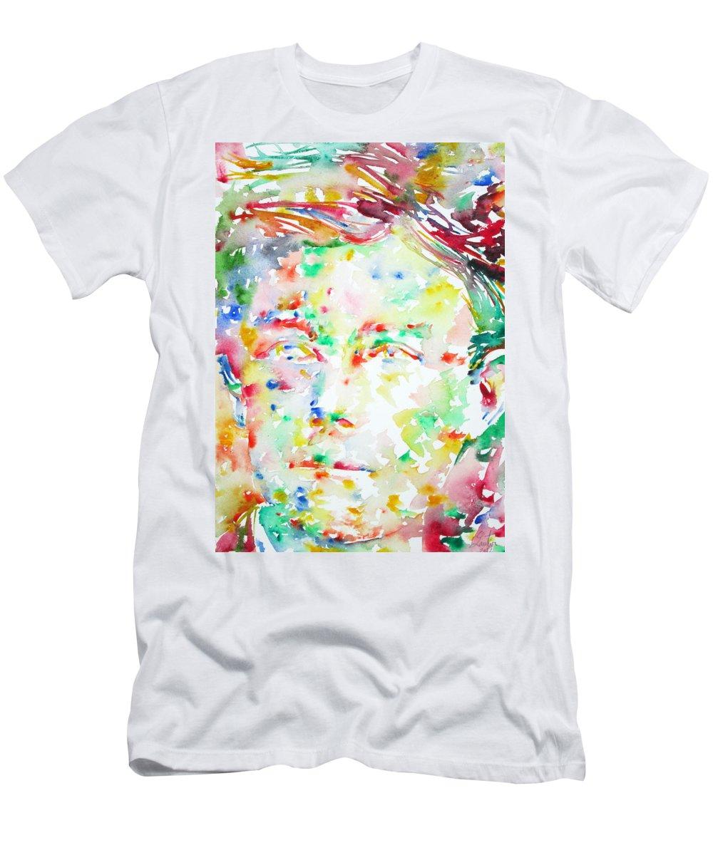Arthur Men's T-Shirt (Athletic Fit) featuring the painting Arthur Rimbaud Watercolor Portrait by Fabrizio Cassetta