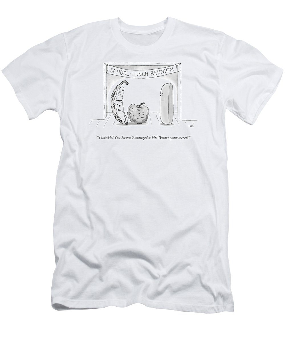 High School Reunion Men's T-Shirt (Athletic Fit) featuring the drawing At A School Lunch Reunion by Christian Lowe
