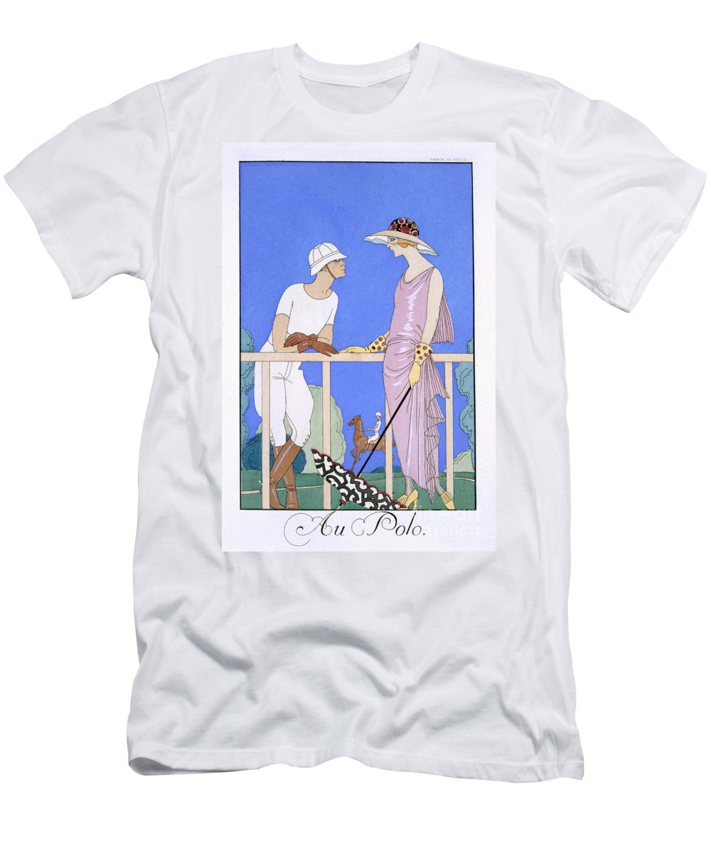 Au Polo Men's T-Shirt (Athletic Fit) featuring the painting At Polo by Georges Barbier