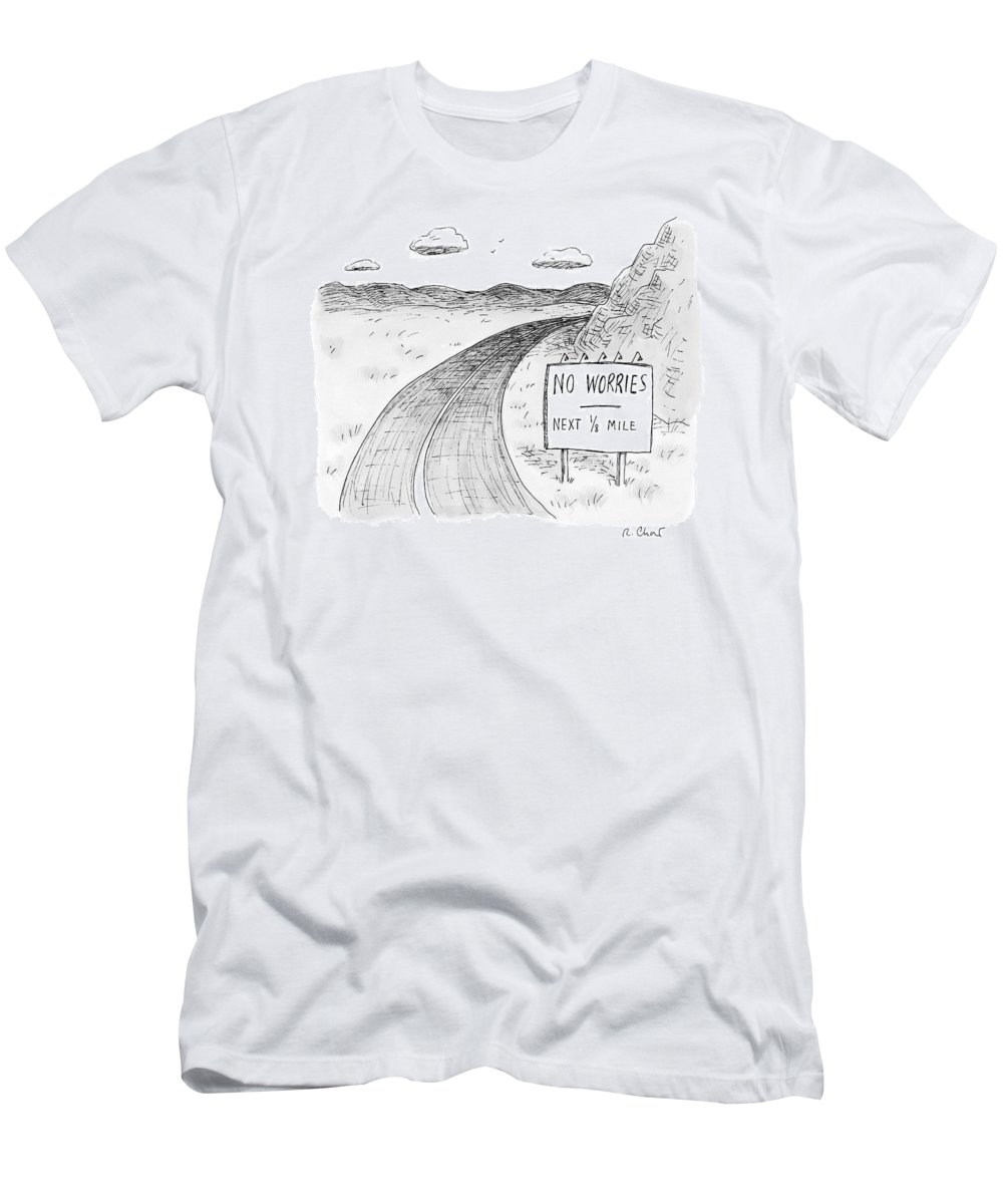 Road Signs T-Shirt featuring the drawing At The Side Of A Stretch Of Rural Road by Roz Chast