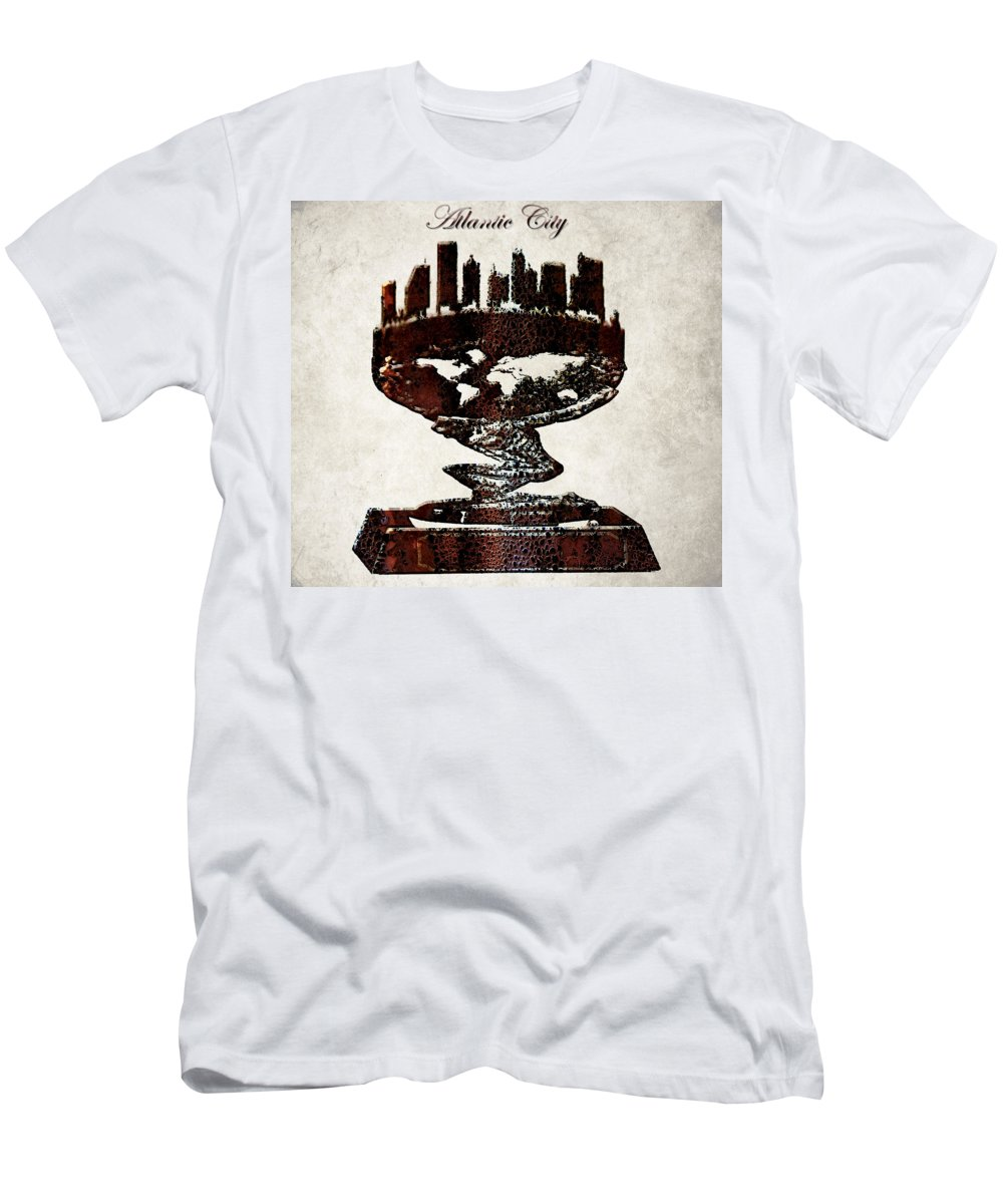 Atlantic City Men's T-Shirt (Athletic Fit) featuring the digital art Atlantic City Skyline by Brian Reaves
