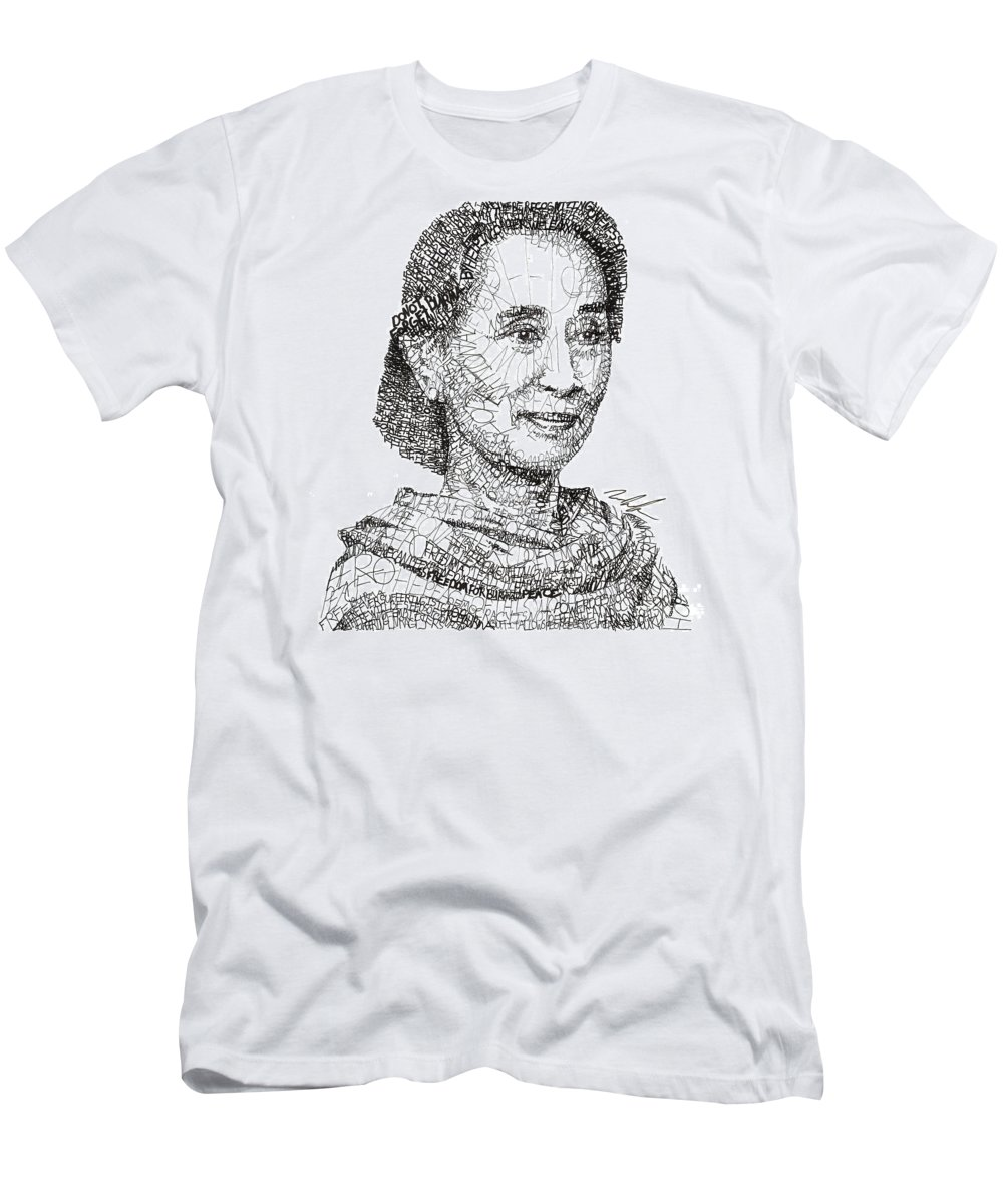 Aung San Suu Kyi Men's T-Shirt (Athletic Fit) featuring the drawing Aung San Suu Kyi by Michael Volpicelli