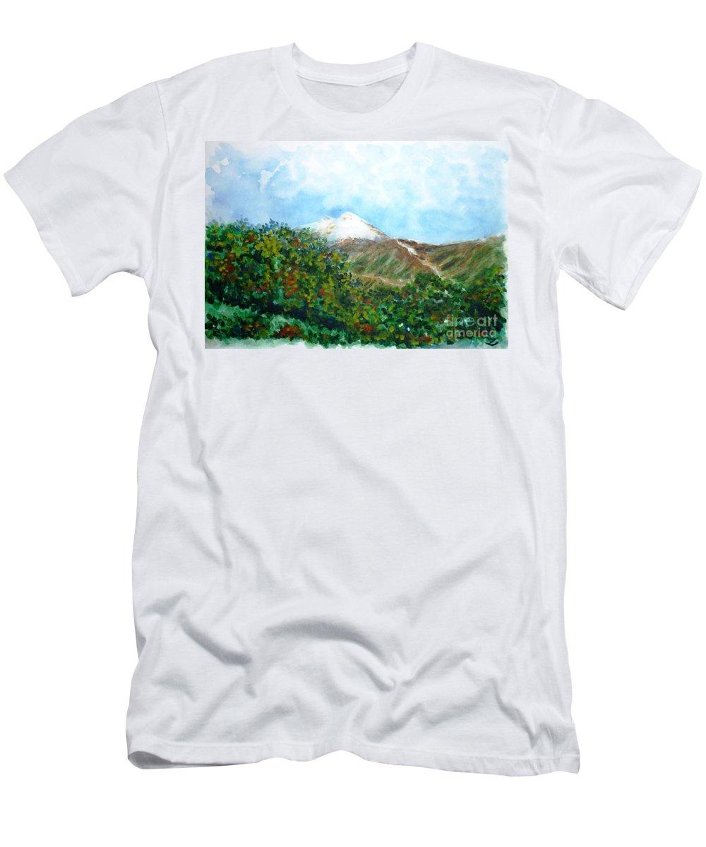 Autumn Men's T-Shirt (Athletic Fit) featuring the painting Autumn At The Foot Of Mount Elbrus by Zaira Dzhaubaeva