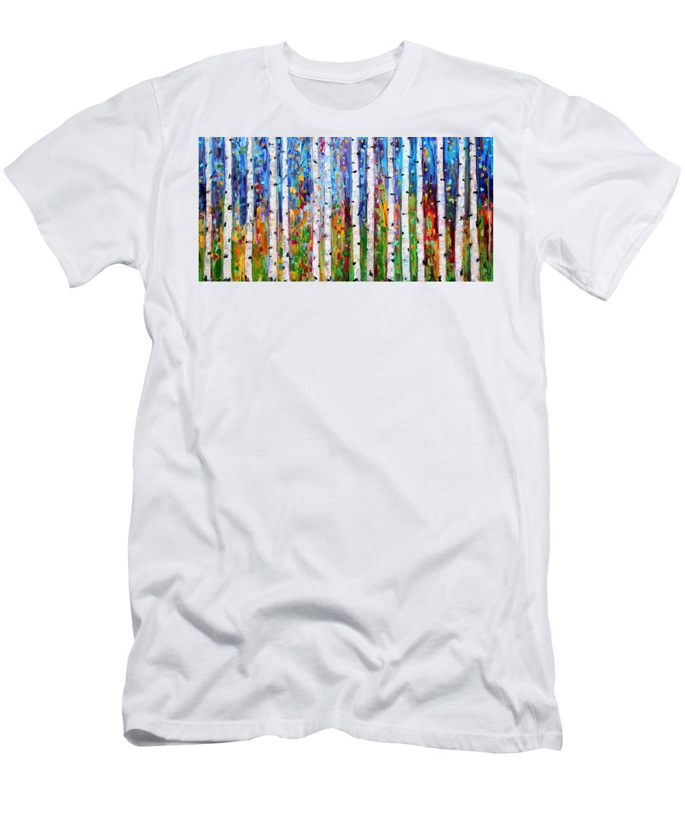 Birch Trees Men's T-Shirt (Athletic Fit) featuring the painting Autumn Birch Trees Abstract by Karen Tarlton