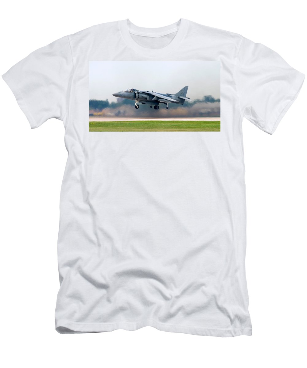 3scape Men's T-Shirt (Athletic Fit) featuring the photograph Av-8b Harrier by Adam Romanowicz