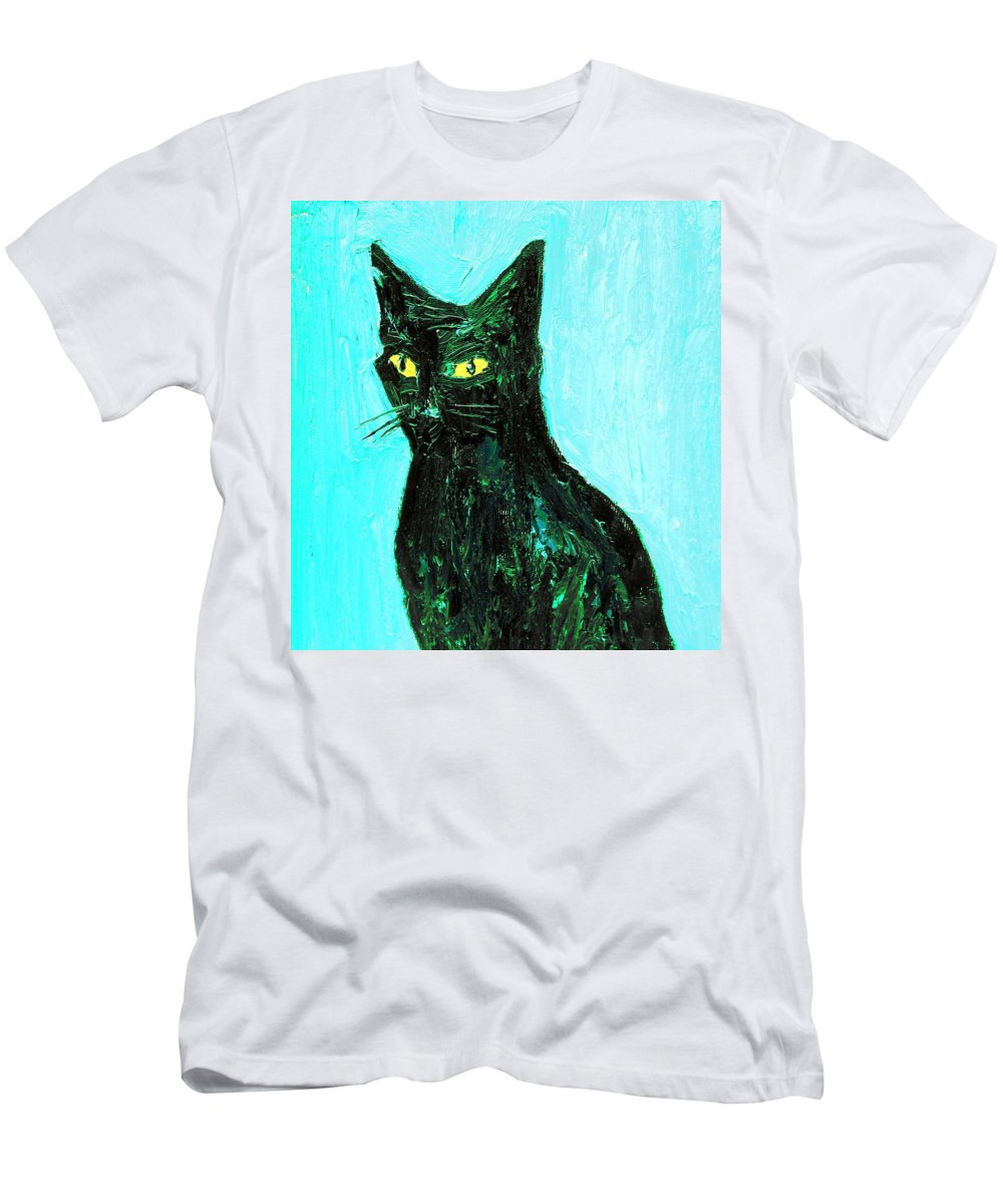 Cat Men's T-Shirt (Athletic Fit) featuring the painting Awake To The Invisible by Fabrizio Cassetta