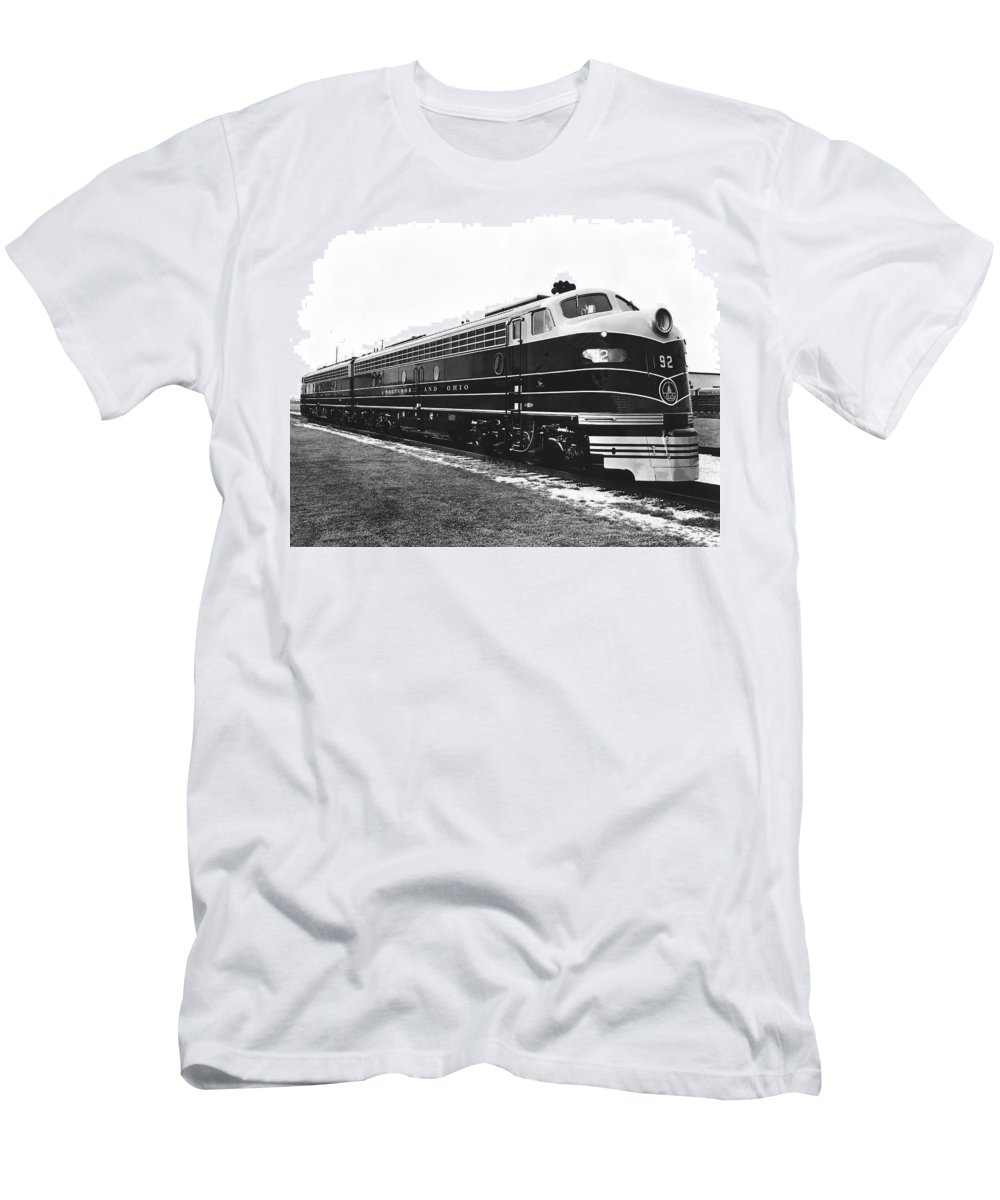 1930s Men's T-Shirt (Athletic Fit) featuring the photograph B & O New Diesel Engines by Underwood Archives