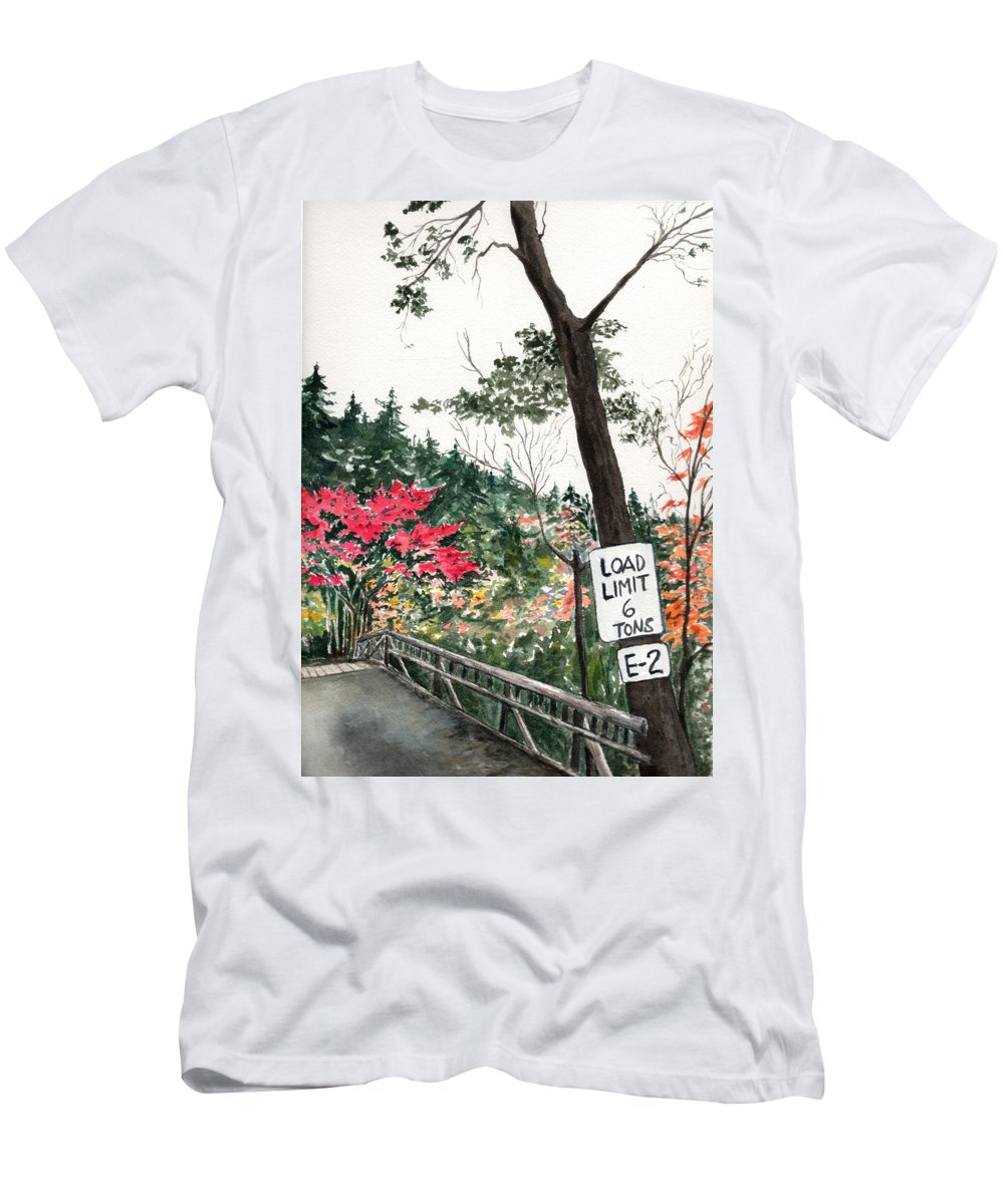 Watercolor Men's T-Shirt (Athletic Fit) featuring the painting Backwoods Bridge by Brenda Owen