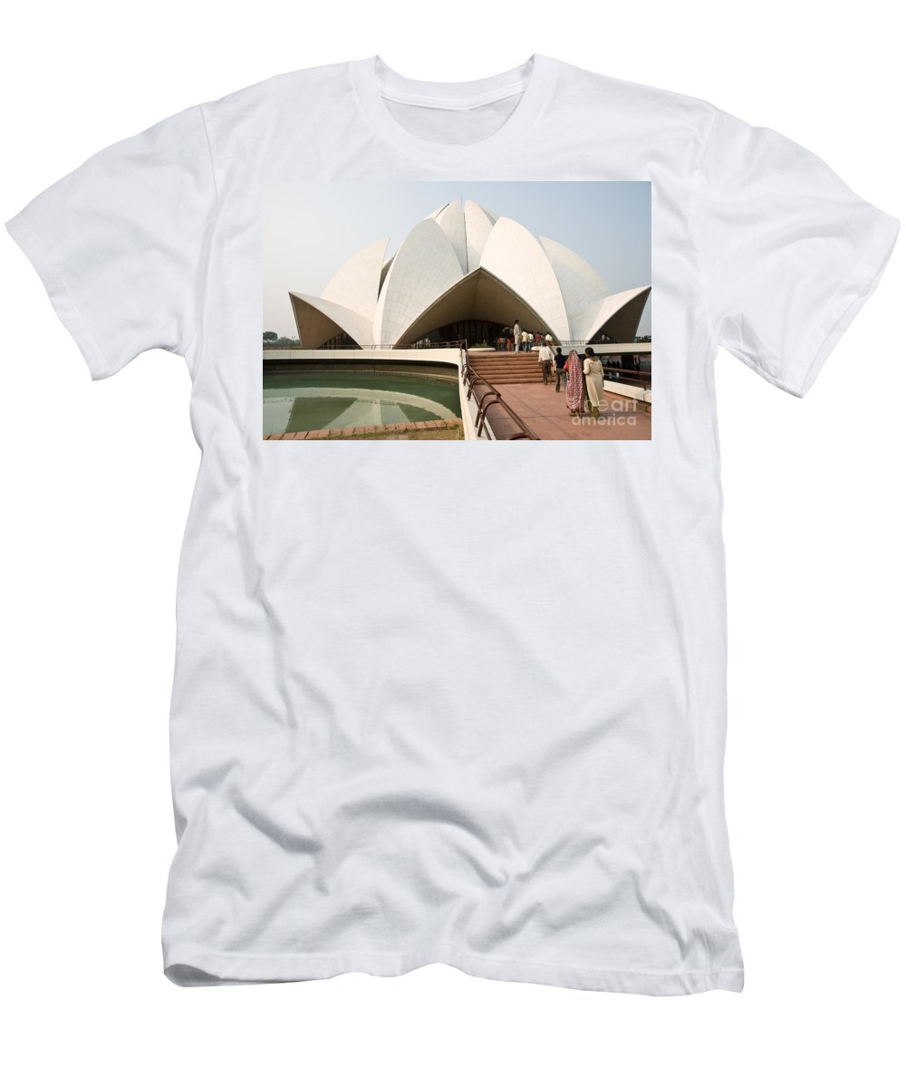 Architecture Men's T-Shirt (Athletic Fit) featuring the photograph Bahai Temple - New Delhi - India by Luciano Mortula