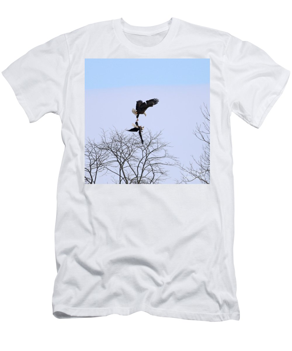 Bald Eagles Men's T-Shirt (Athletic Fit) featuring the photograph Bald Eagle Courtship Ritual 1338 by Jack Schultz