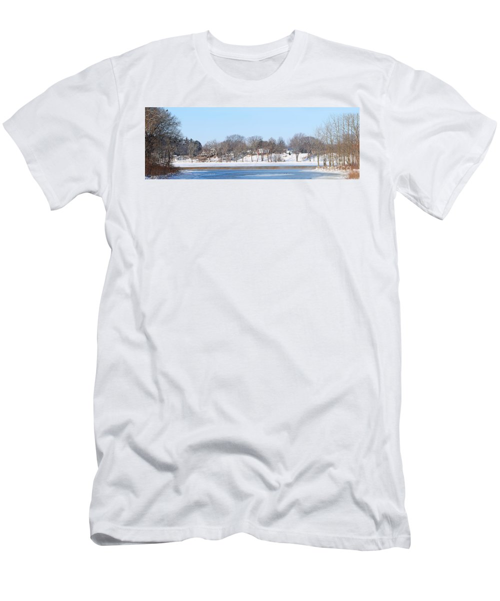 Bald Eagles Men's T-Shirt (Athletic Fit) featuring the photograph Bald Eagles In Tree In Grand Rapids Ohio Panorama by Jack Schultz
