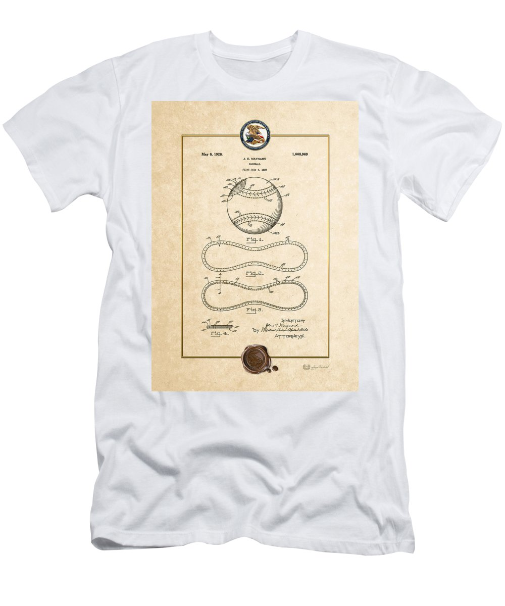 C7 Sports Patents And Blueprints Men's T-Shirt (Athletic Fit) featuring the digital art Baseball By John E. Maynard - Vintage Patent Document by Serge Averbukh