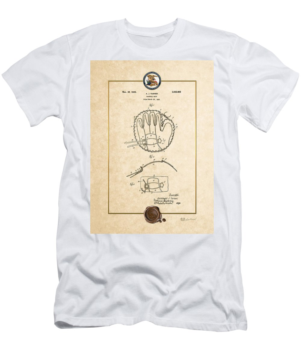 C7 Sports Patents And Blueprints Men's T-Shirt (Athletic Fit) featuring the digital art Baseball Mitt By Archibald J. Turner - Vintage Patent Document by Serge Averbukh