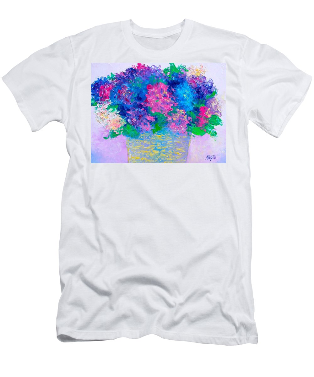 Hydrangeas Men's T-Shirt (Athletic Fit) featuring the painting Basket Of Hydrangeas by Jan Matson