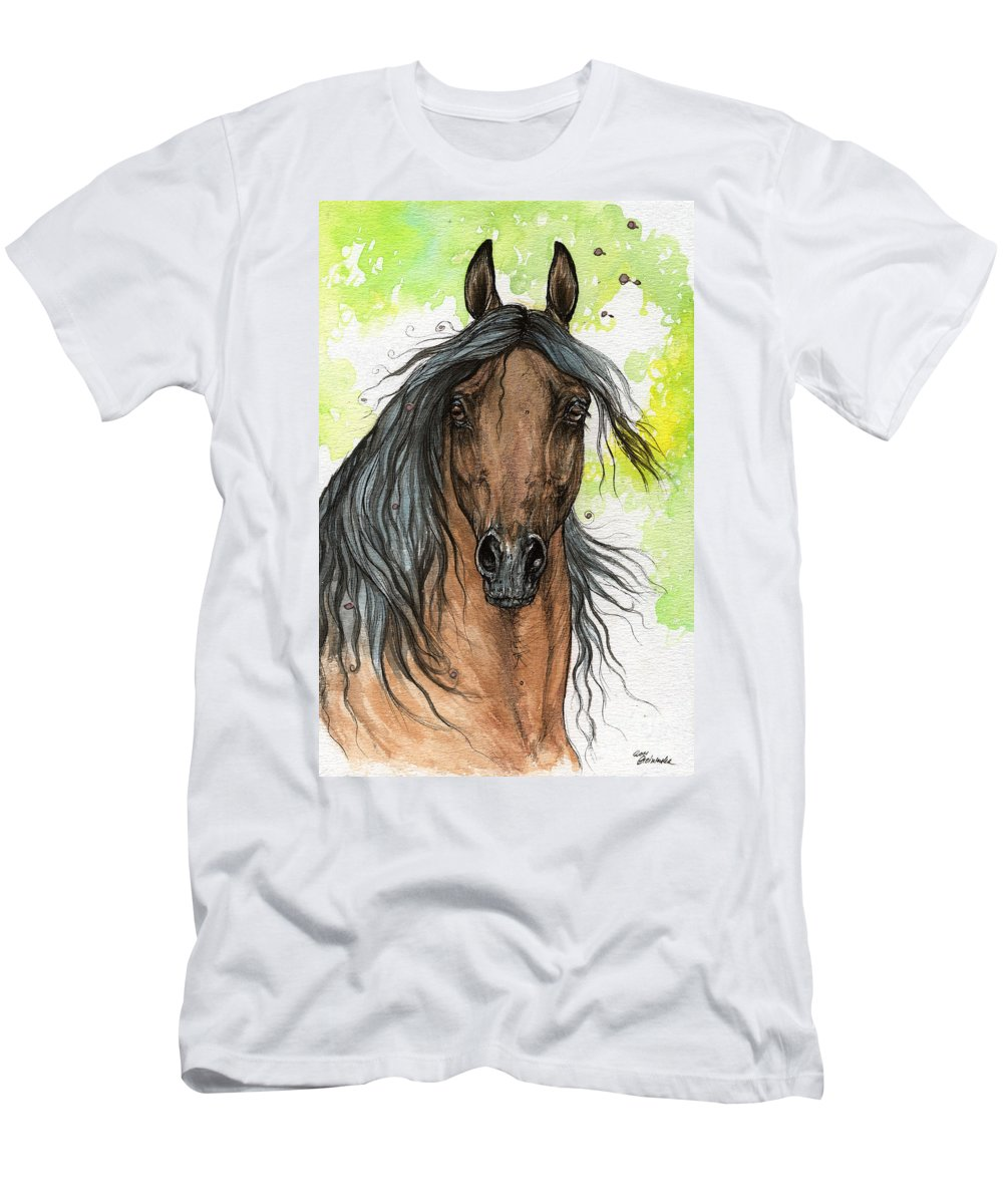 Men's T-Shirt (Athletic Fit) featuring the painting Bay Arabian Horse Watercolor Painting by Angel Ciesniarska