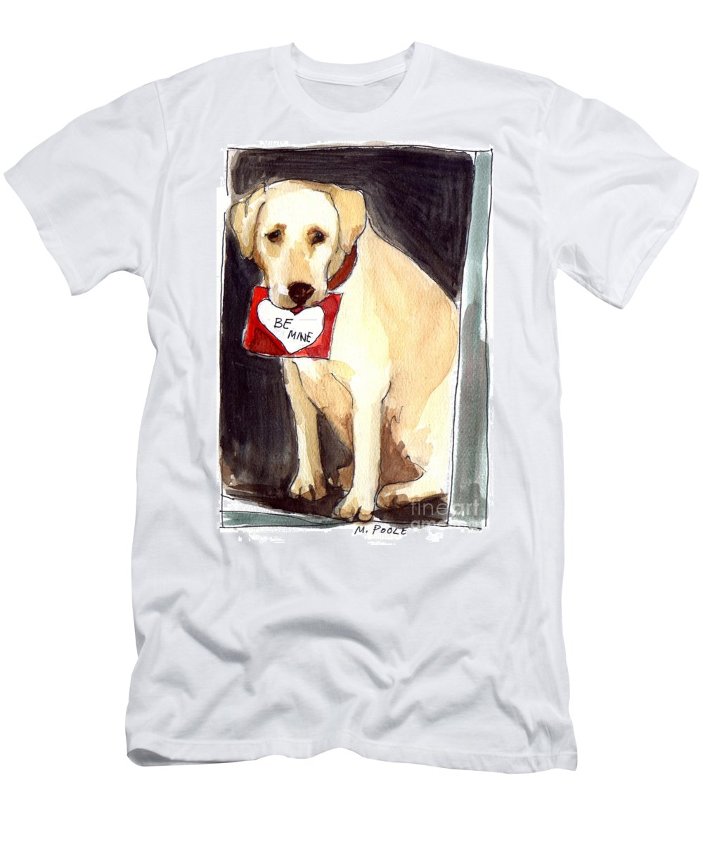 A Heart Felt Message! Men's T-Shirt (Athletic Fit) featuring the painting Be Mine by Molly Poole