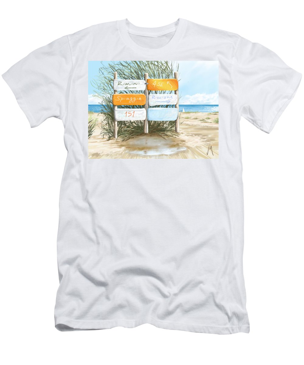 Beach Men's T-Shirt (Athletic Fit) featuring the painting Beach 151 by Veronica Minozzi