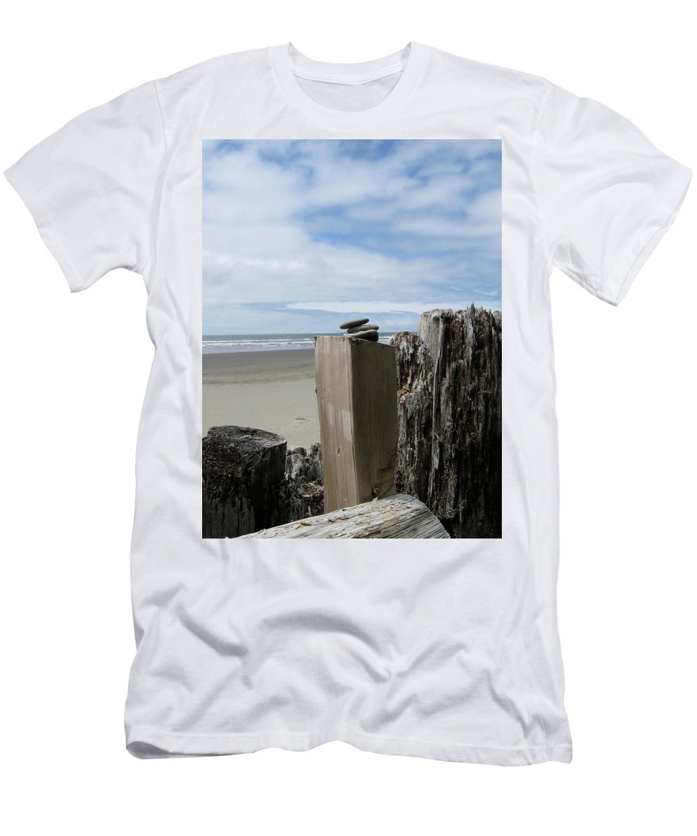 Kalaloch Men's T-Shirt (Athletic Fit) featuring the photograph Beach And Sky by Kimberly Maxwell Grantier