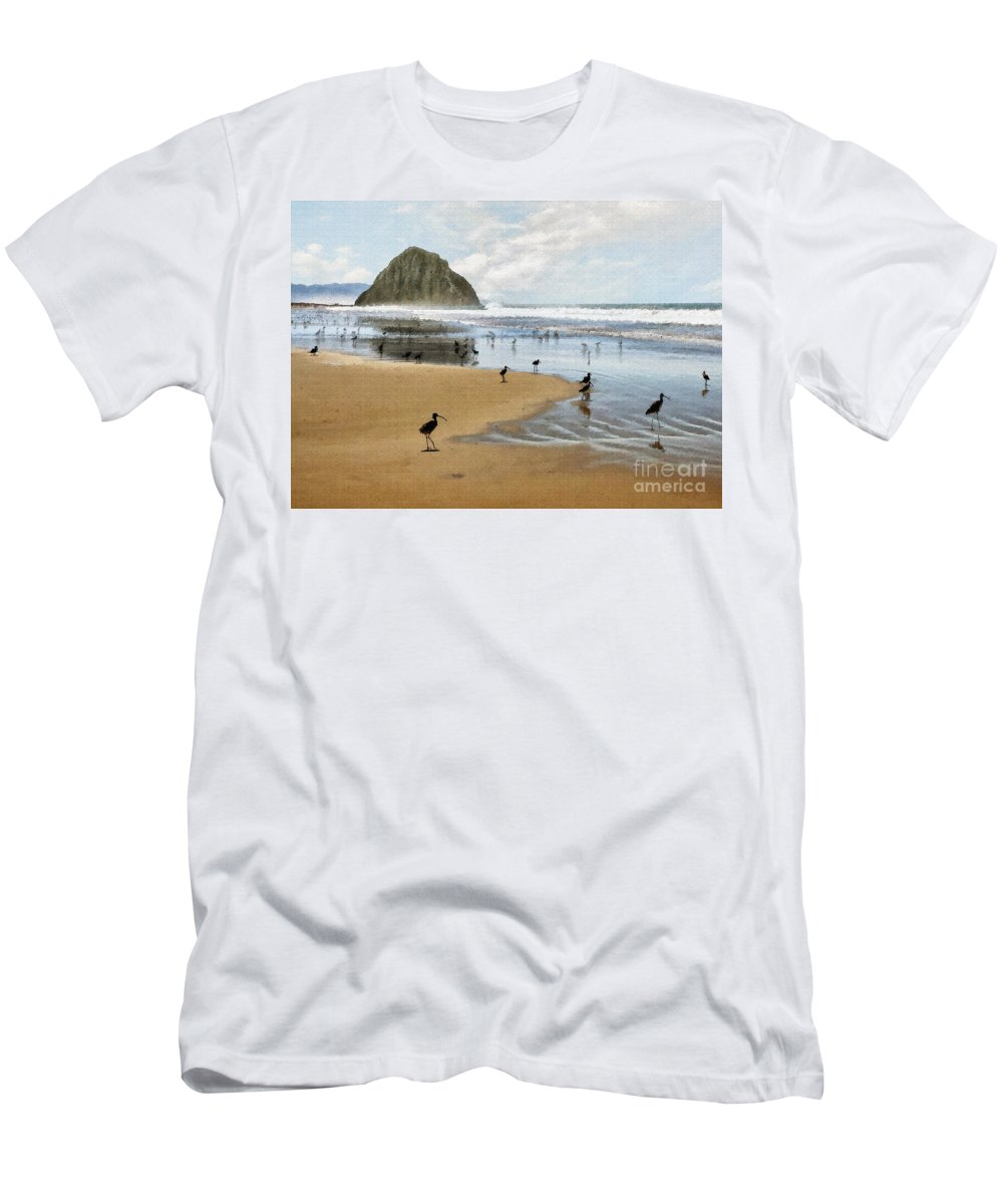 Beach Men's T-Shirt (Athletic Fit) featuring the photograph Beach Birds Impasto by Sharon Foster