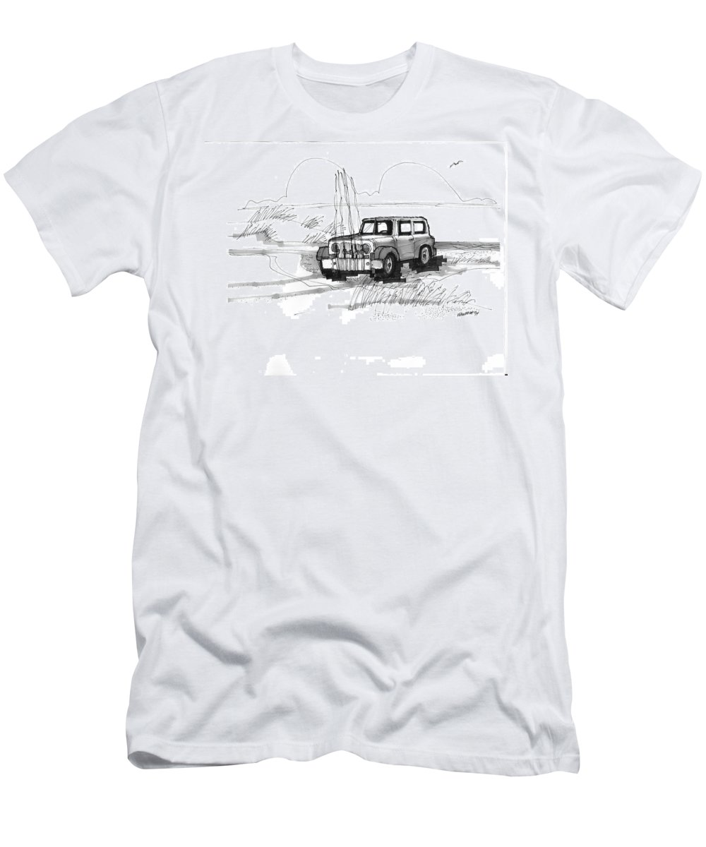 Ocracoke Men's T-Shirt (Athletic Fit) featuring the drawing Beach Buggy Ocracoke 1970s by Richard Wambach