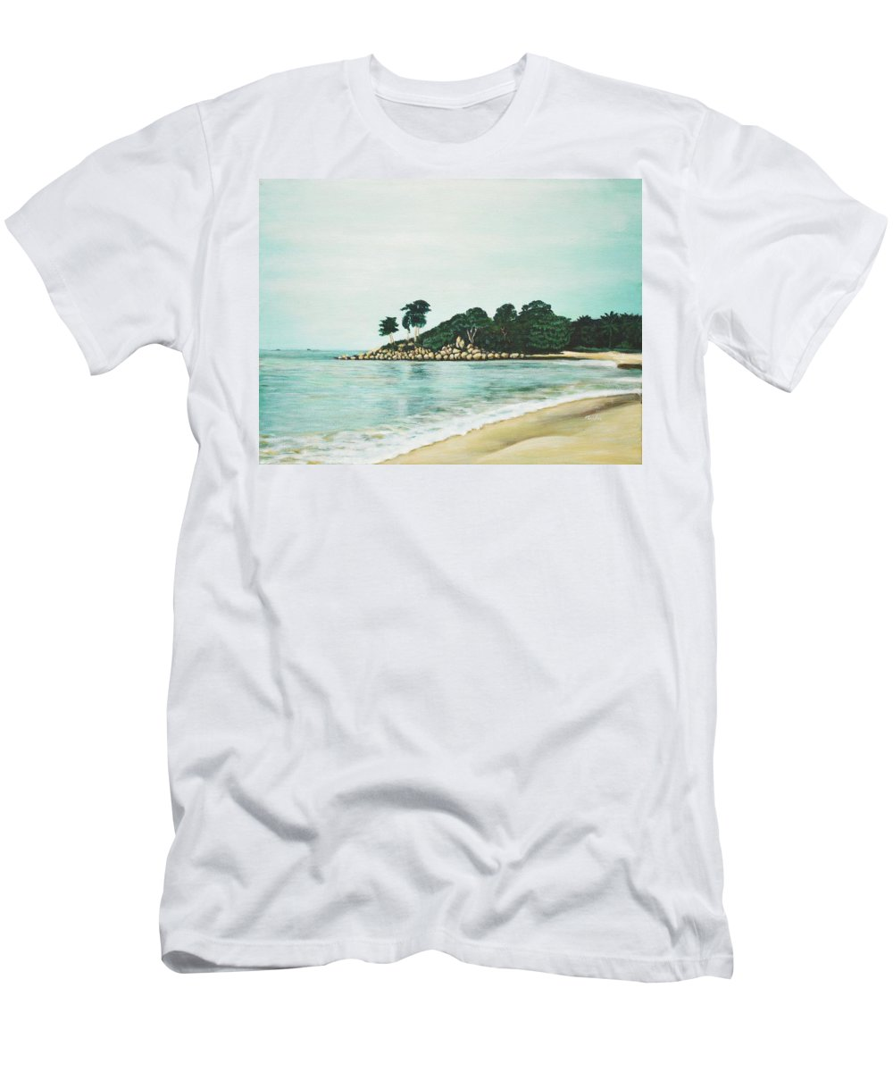 Beach Men's T-Shirt (Athletic Fit) featuring the painting Beach by Usha Shantharam