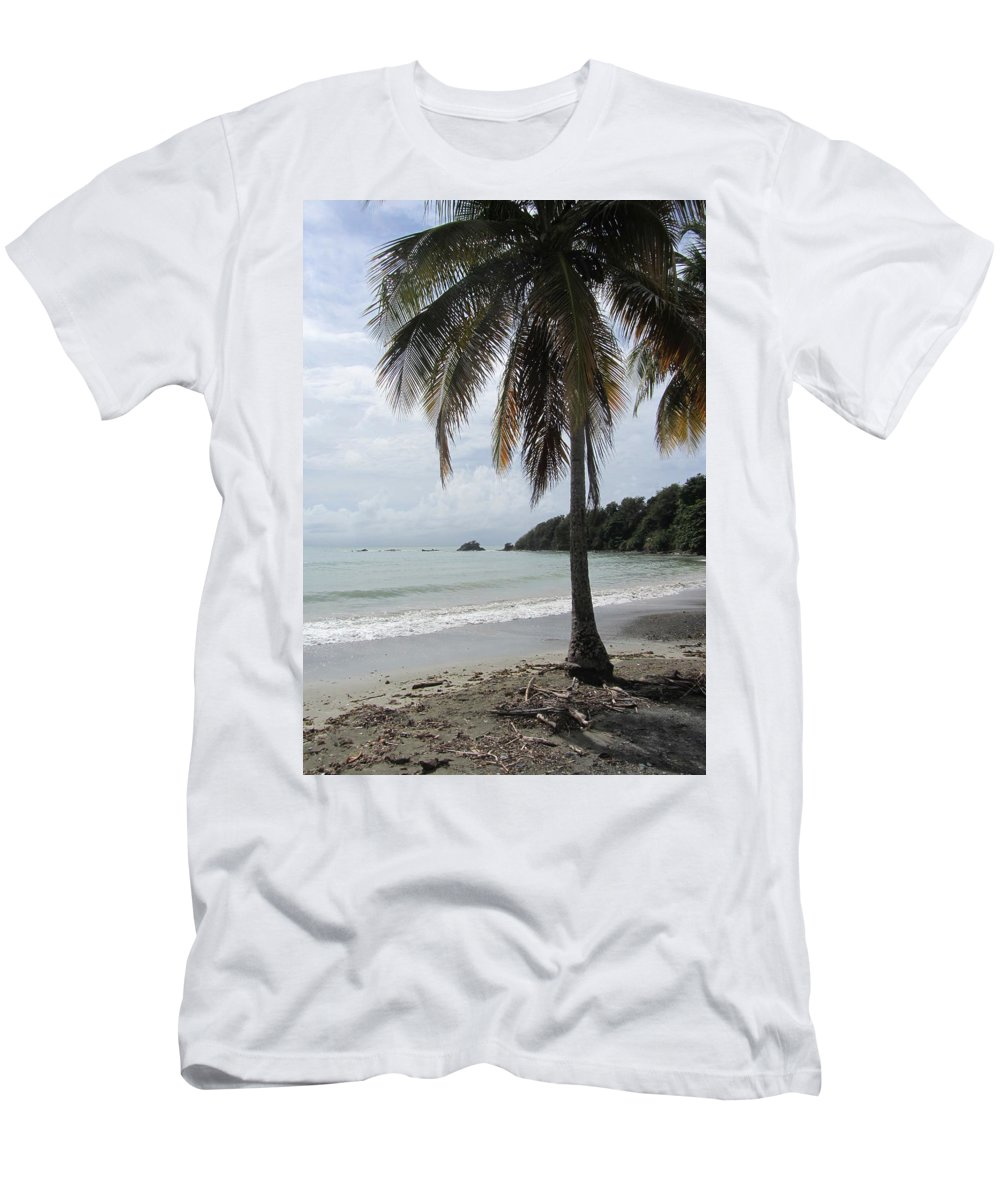 Beach Men's T-Shirt (Athletic Fit) featuring the photograph Beach With Palm Tree by Anita Burgermeister