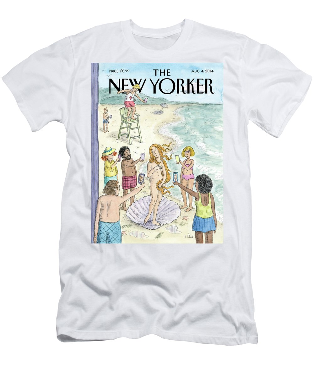 Beach T-Shirt featuring the painting Venus on the Beach by Roz Chast