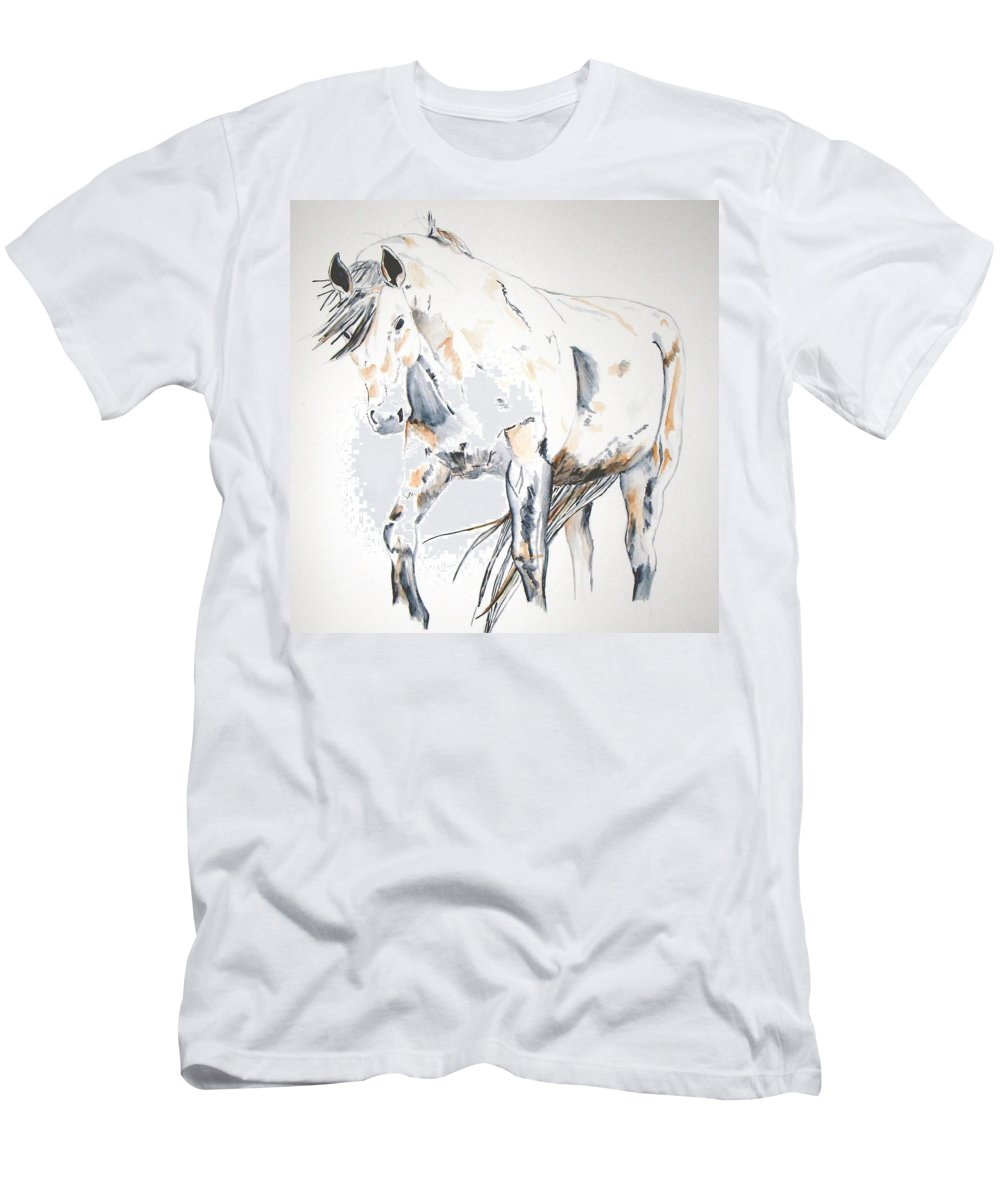 Horse Men's T-Shirt (Athletic Fit) featuring the painting Beauty by Crystal Hubbard