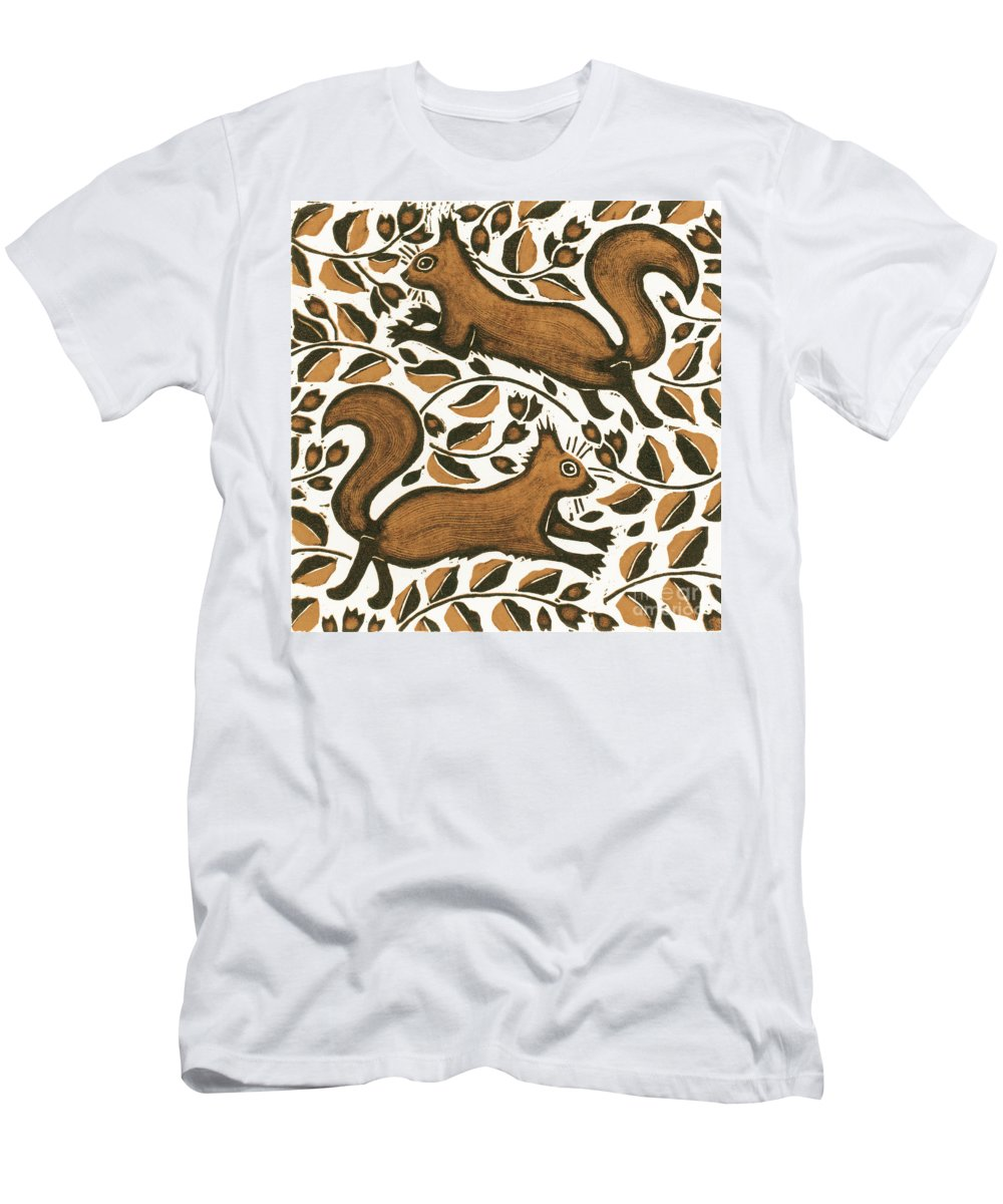 Squirrels Men's T-Shirt (Athletic Fit) featuring the painting Beechnut Squirrels by Nat Morley