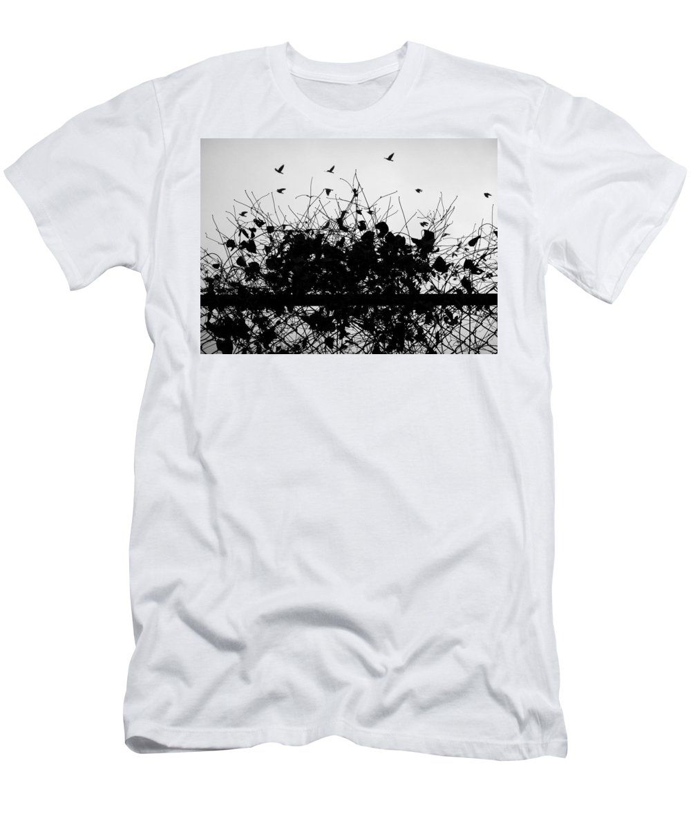 Street Photography. Black And White Men's T-Shirt (Athletic Fit) featuring the photograph Behind Enemy Lies by The Artist Project