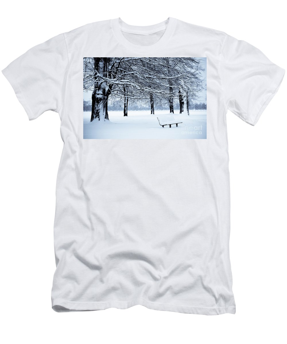 B&w Men's T-Shirt (Athletic Fit) featuring the photograph Bench In Snow by Lana Enderle