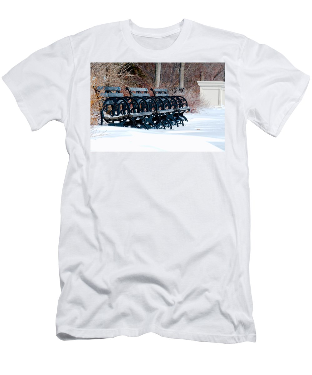 Benches Men's T-Shirt (Athletic Fit) featuring the photograph Benches In The Snow by Larry Jost