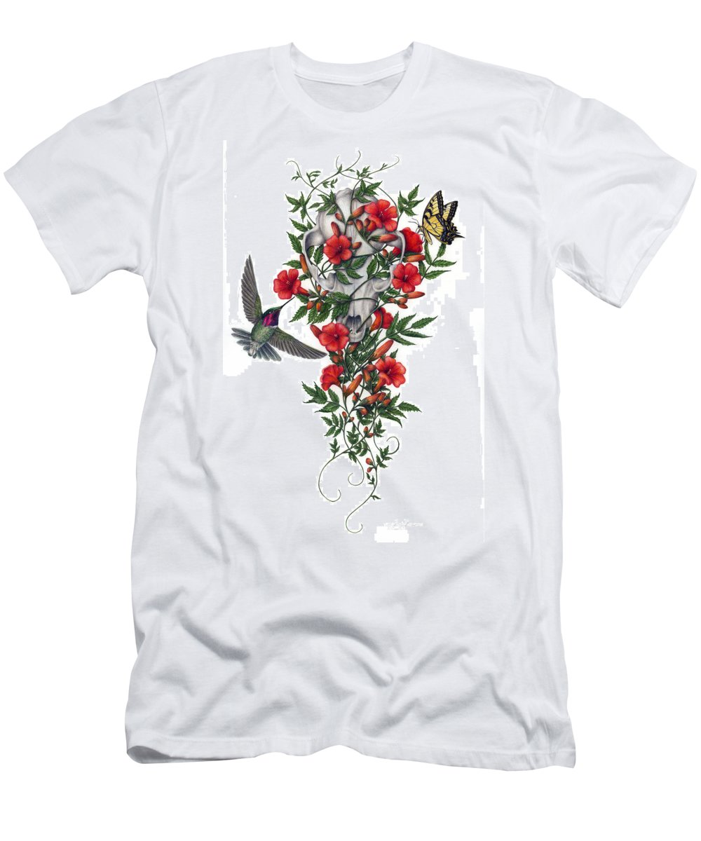 Animal Skull Men's T-Shirt (Athletic Fit) featuring the painting Beneath Summer's Promise by Pat Erickson