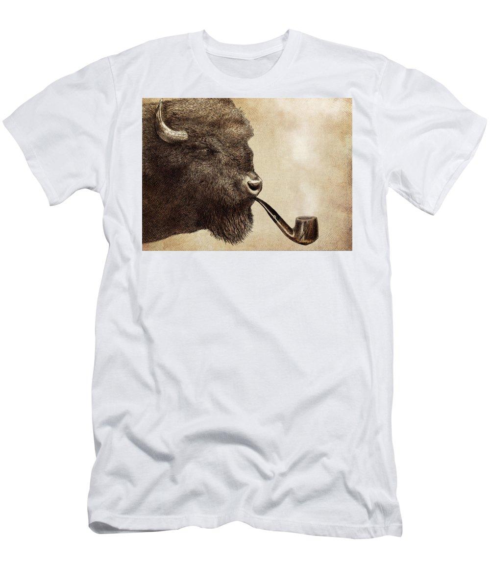 Buffalo T-Shirt featuring the drawing Big Smoke by Eric Fan