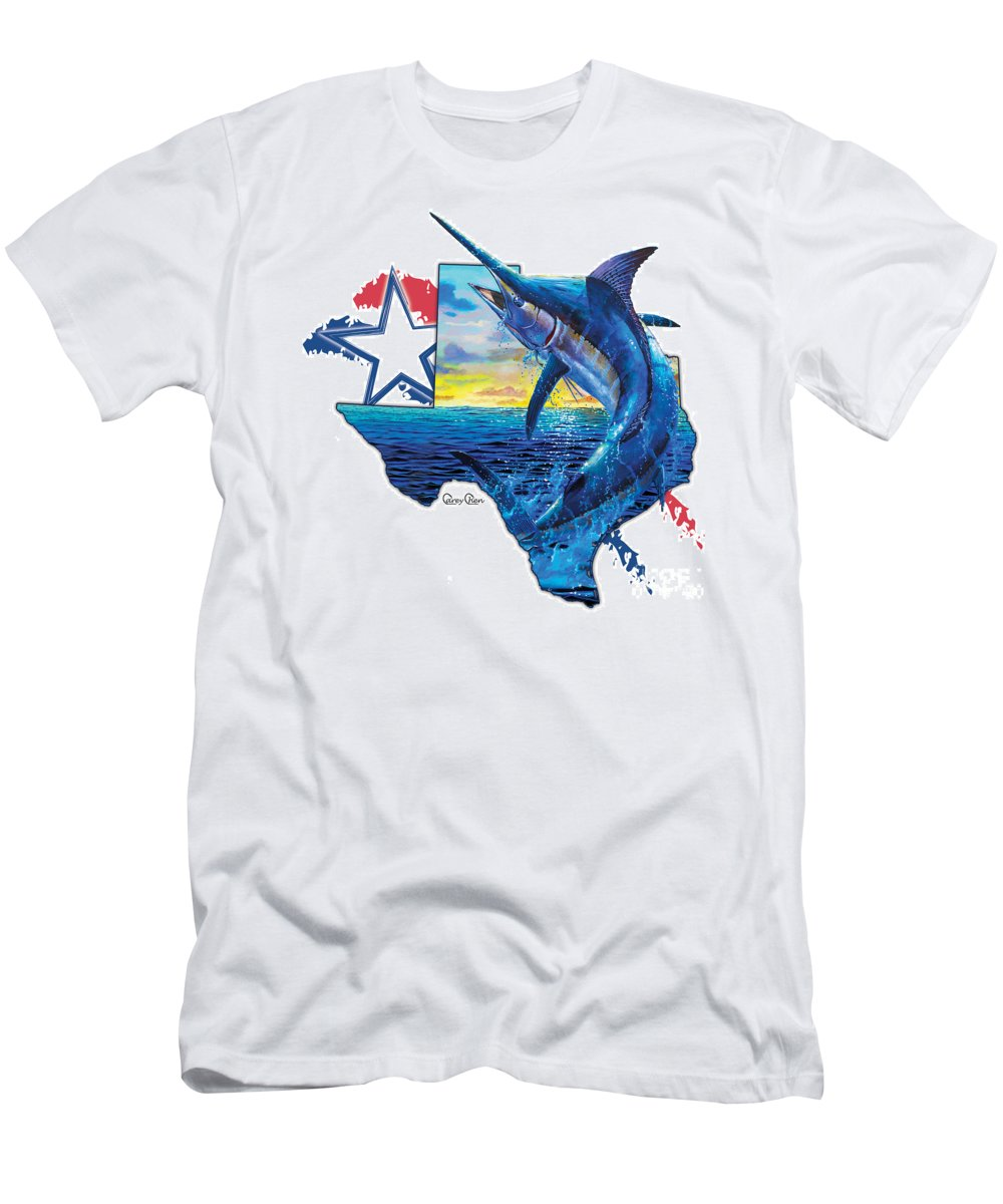 Texas Men's T-Shirt (Athletic Fit) featuring the painting Bigger In Texas by Carey Chen