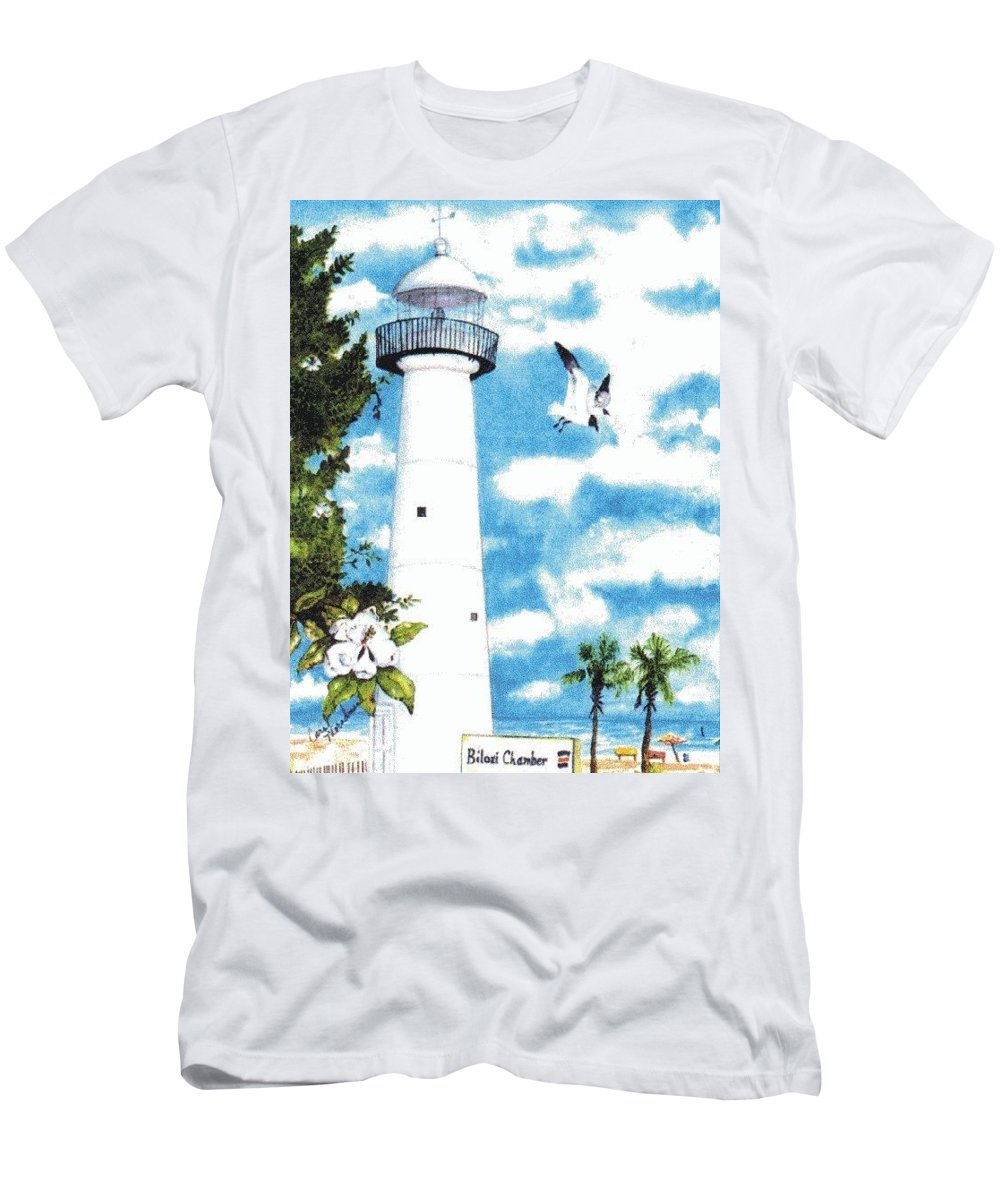 Biloxi Men's T-Shirt (Athletic Fit) featuring the painting Biloxi Lighthouse by Carol Lindquist