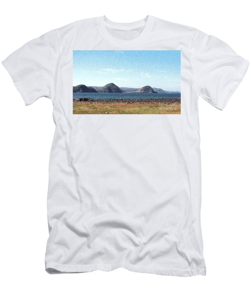Bird Blind On The Beach Sketch Men's T-Shirt (Athletic Fit) featuring the photograph Bird Blind On The Beach Sketch by Barbara Griffin