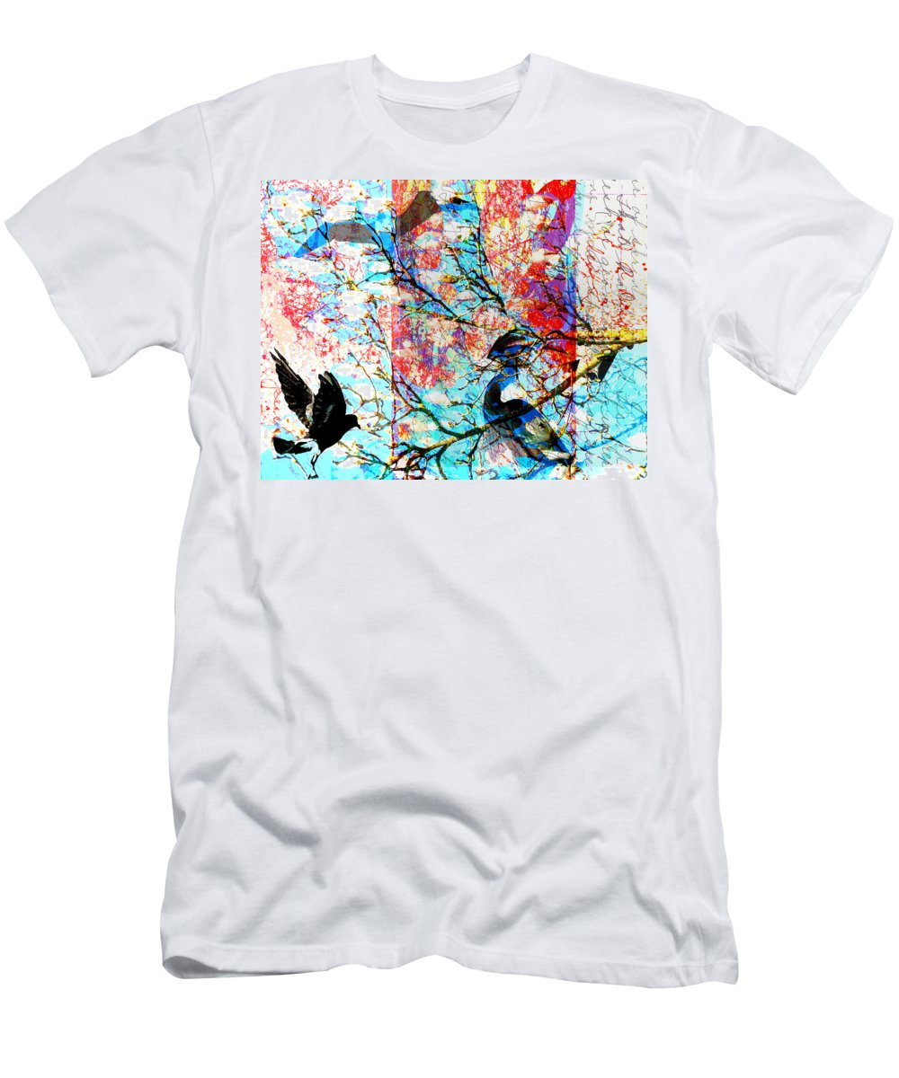 Men's T-Shirt (Athletic Fit) featuring the digital art Bird Collage by Cathy Anderson