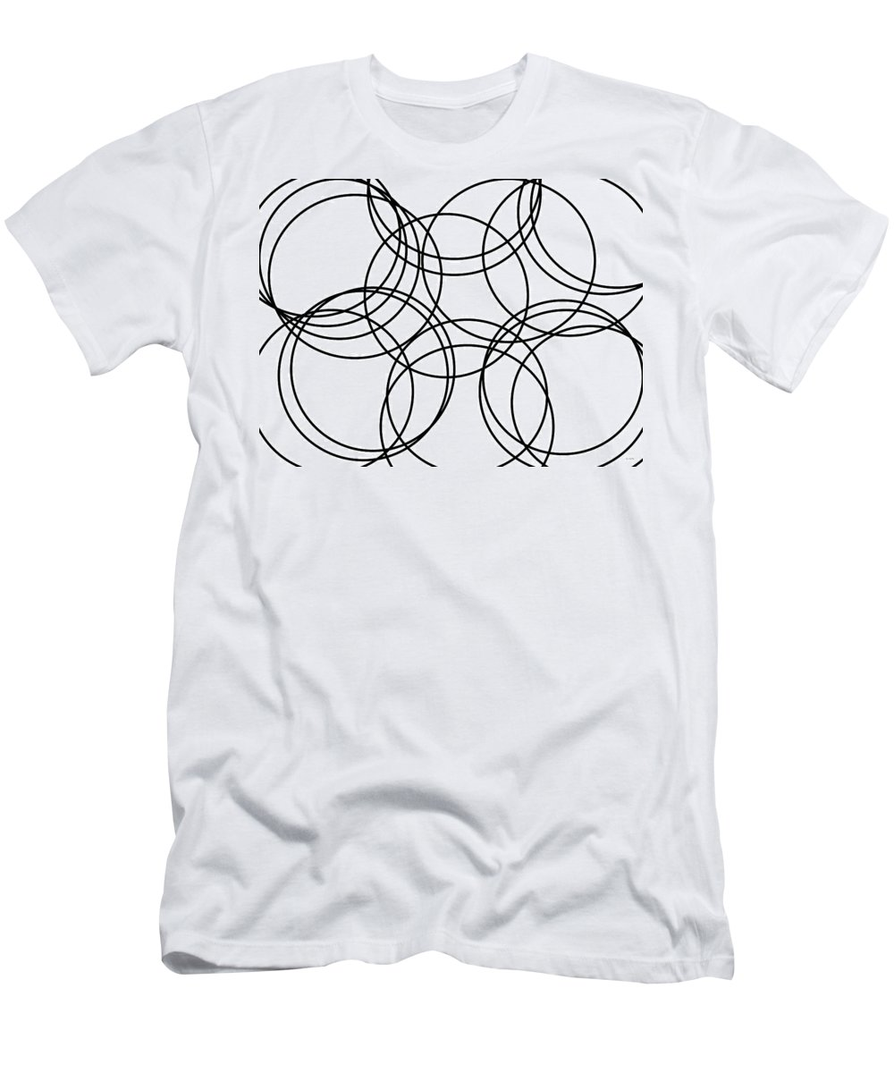 Abstract Men's T-Shirt (Athletic Fit) featuring the digital art Black And White Hoops by Geraldine Cote