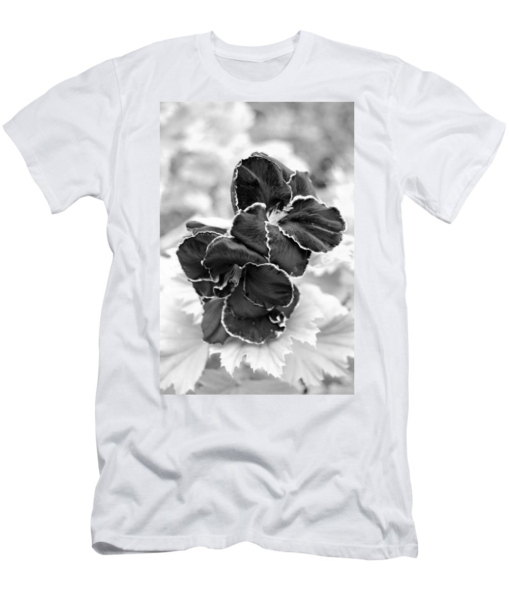 Kula Botanical Gardens Men's T-Shirt (Athletic Fit) featuring the photograph Black And White Maui Flowers by Amy Fose