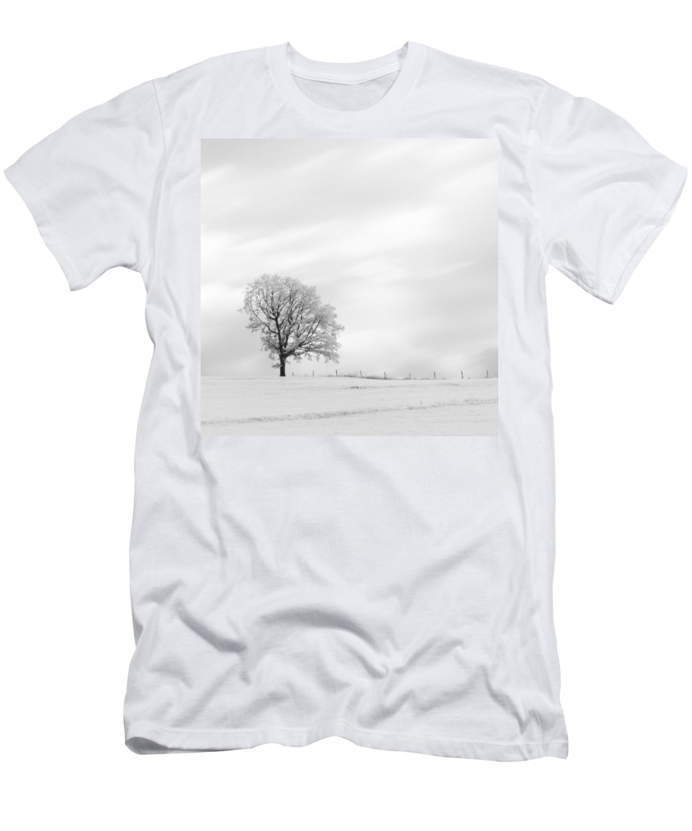Autumn Men's T-Shirt (Athletic Fit) featuring the photograph Black And White Square Tree by U Schade